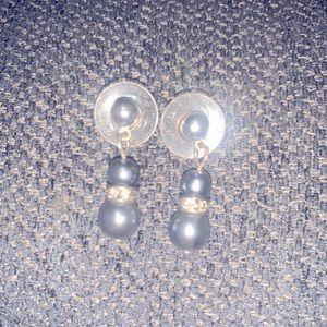 Blue Pearl Dangle Earrings